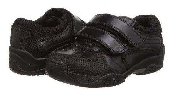 HUSH PUPPIES Jezza Velcro Leather School Shoe (Black)